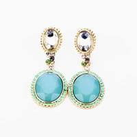 Oversize Oval Shape Blue Faux Gem Earrings