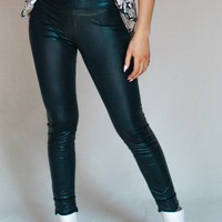 Let's Snake It Black Textured Faux Leather Leggings