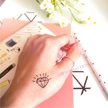 4pcs Set Small Diamond - InknArt Temporary Tattoo - Gemstone tiny set wrist quote tattoo sticker fake tattoo wedding tattoo small tattoo