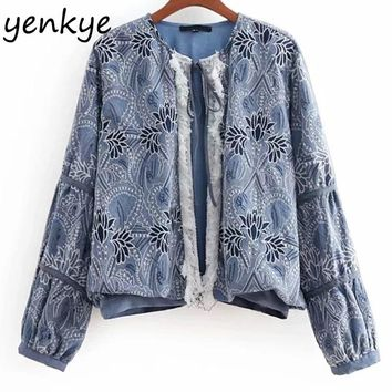 Vintage Women Tassel Trim Embroidery Denim Jacket Lady Long Sleeve Cardigan Casual Jackets Plus Size Coat chaqueta mujer
