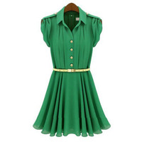 Green or Pink Lapel Buttons Sleeveless Chiffon Dress
