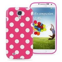 Samsung Galaxy S4 Polka Dot Soft Rubberized Case Cover (Magenta)