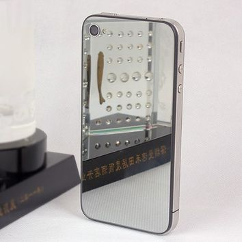[Aftermarket Product] Back Cover Housing, Mirror Glass Battery Door, Replacement Back Housing Without Diffuser, Chrome Ring and Interior Frame w/ Free Tool Only for iPhone 4s (Not fit any iphone 4))