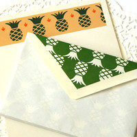 Vintage Pineapple Stationery. Stationery Set. Stationery Sheets. Writing Paper. Letter Paper. Lined Envelopes. Note Paper. Journal Paper.