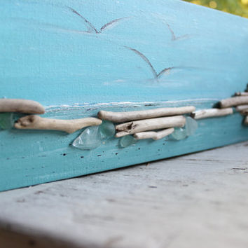 Driftwood Wall Art , Original Acrylic Painting for Coastal Inspired Spaces , Reclaimed Wood Decor