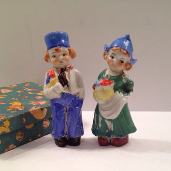 Antique Dutch Boy and Girl Doll Porcelain Figurines in Original Box