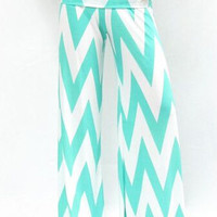 Women's Boho Black & White or Mint and White Chevron Striped High Waist Fold Over Palazzo Pants Yoga Pants