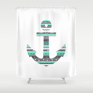 Tiffany Mint Aztec Pattern Anchor Shower Curtain by RexLambo