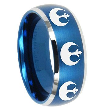 10mm Multiple Star Wars Dome Brushed Blue 2 Tone Tungsten Mens Wedding Ring