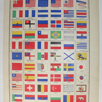 1899 Vintage Flags Print, Red White and Blue Wall Art, Antique Color Print of Flags, Unique Office Gift for Coworker, Primary Colors Decor