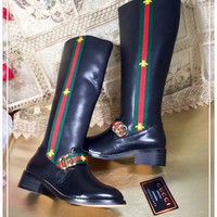 Gucci Women Black Leather Side Zip long Boots Shoes Best Quality
