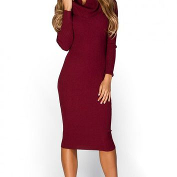 Valencia Burgundy Red Long Sleeve Cowl Neck Bodycon Sweater Dress