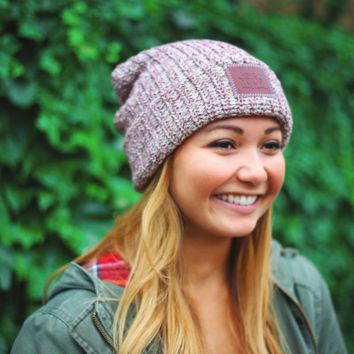 BURGUNDY SPECKLED LEATHER PATCHED CUFFED BEANIE Love Your Melon Hat