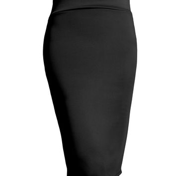 LE3NO Womens Fitted Solid High Waisted Midi Skirt with Stretch (CLEARANCE)