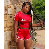 Champion Fashionable Women Casual Print Shorts Sleeve Top Shorts Two Piece Red