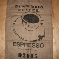 Espresso Burlap Coffee Bag, Dunn Bros Gunny Sack Great For Coffee Lovers or Kids Sack Races
