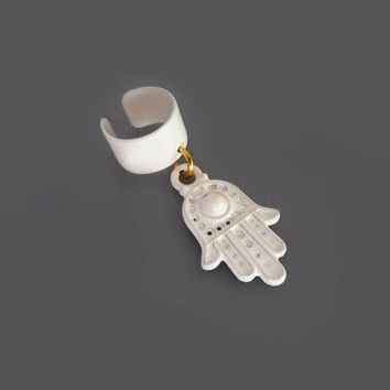 Mirror White Hamsa Hand Ear Cuff