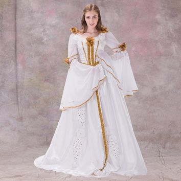Medieval Renaissance Dress Gothic Style White With Ribbon Dress Gown