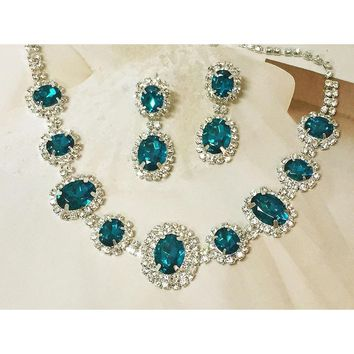 Teal Blue Crystal Bridal Statement Necklace and Earring Set