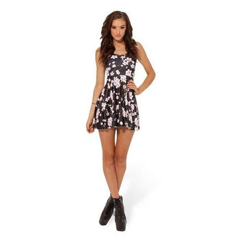 Charming Cherry Blossom Black Base Skater Dress