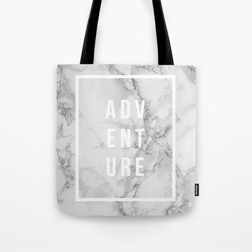 ADVENTURE on Marble Tote Bag by Inspire Your Art