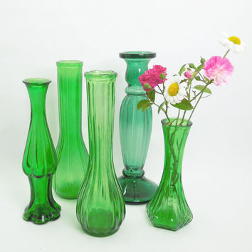 Wedding decor - Green glass vases (Lot of 5) - Cottage chic - Country wedding - Restaurant decor - Bridal shower decor (READY to ship)