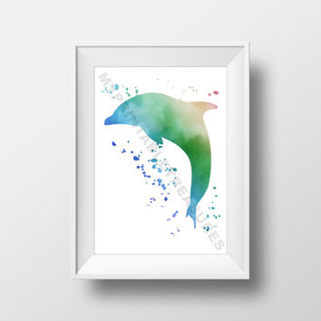 Dolphin Printable Artwork, Wall Art Digital Download, Marine Animal Nursery Art, Sea Animal Room Decoration, Watercolor Pint Decor
