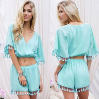 Sexy Womens Rompers Jumpsuit 2015 New 2 Piece Set Women Fashion Tassel Combinaison Shorts Jumpsuit V neck Playsuits Overalls XL