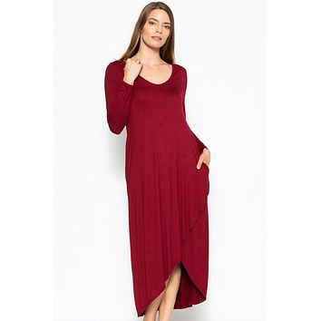 Women's Casual Fashion Dresses Modest Style Dress Long Sleeve Maxi Dress