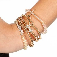 Gold Bling Cross Bow Bracelet Set