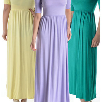 Shortsleeve, Jersey-Knit Maxi Dress