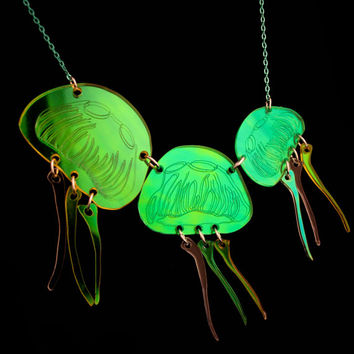 PANIKA laser cut holographic jellyfish statement necklace