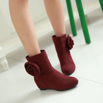 Flower Ankle Boots Wedges Shoes Woman
