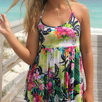El Castillo Beach Tropical Floral Print Green And Pink Halter Top