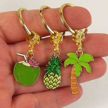 Luau party favors,  palm tree keychain, coconut key chain, pineapple keychain, hawaiian party favor, tiki party, pool party, beach party