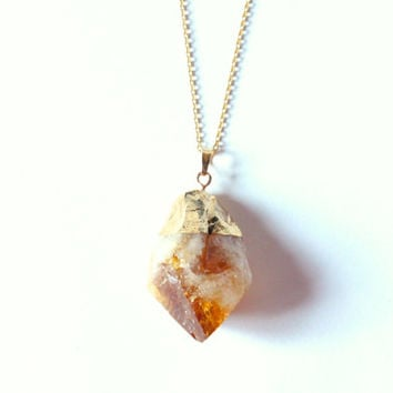 Dainty Chain Necklace with Citrine Pendant