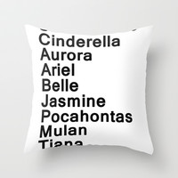 Disney Princesses Throw Pillow by rachaelroyalty