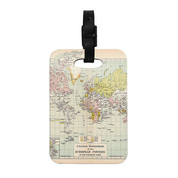 "Catherine Holcombe ""Travel"" World Map Decorative Luggage Tag"