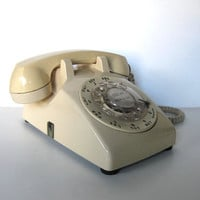 Vintage 70's Western Electric Rotary Telephone, Retro Beige, Home Decor, Electronics, gift idea