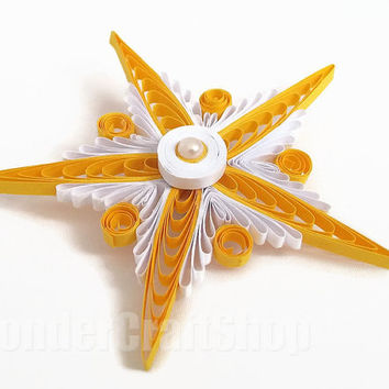 christmas snowflake, plastic christmas ornament, yellow christmas ball, handmade Christmas, christmas home decor, snowflake decor