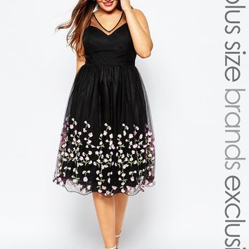 Chi Chi London Plus Tulle Prom Dress With Floral Applique at asos.com