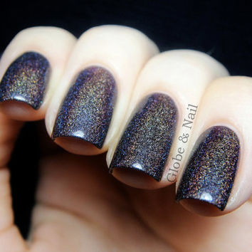 Euphoria Nail Polish -  Chocolate Plum Linear Holographic - Full Size 15 ml Bottle