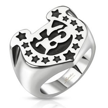 Lucky 13 Stars Horseshoe Wide Cast Ring Stainless Steel