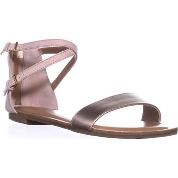 B35 Vista Flat Ankle Strap Sandals, Rose Gold, 7.5 US