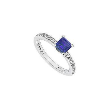 14K White Gold Princess Cut Sapphire & Diamond Engagement Ring 0.60 CT TGW