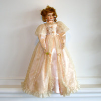 Vintage Porcelain Doll with Stand, 28 inches Tall, Auburn Hair, Curls, Green Eyes, Peach Lace Dress, Collectible China Doll, Bisque Doll