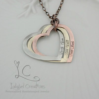 Personalized Necklace, Mixed Metals, Heart Washers Necklace, Interlocked Heart Washers, Personalized Jewelry, Mother's Day Gifts