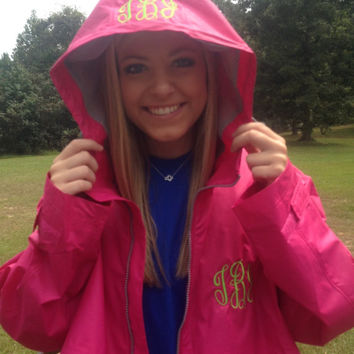 Monogrammed full zip rain jacket, charles river, hot pink, embroidery, adult monogrammed jacket