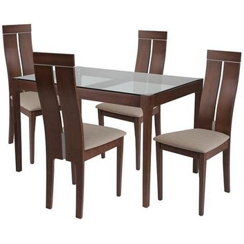 Montclair 5 Piece Walnut Wood Dining Table Set with Glass Top and Clean Line Wood Dining Chairs - Padded Seats