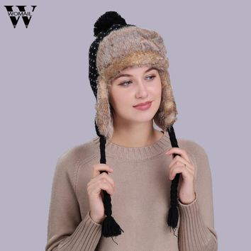 1Pcs Warm Women Winter Hat with Ear Flaps Snow Ski Thick Plush Knit Wool Beanie Cap for Lady Female